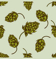 seamless pattern with hand drawn colored hop vector image