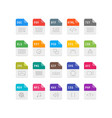 set file format flat icons vector image
