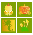 set of icons in princces theme include frog with vector image