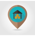 Shed flat mapping pin icon vector image vector image