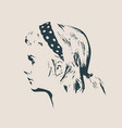 silhouette of a female head face side view vector image vector image