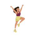 smiling woman dancing on roller skates performing vector image vector image