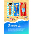 summer flyer design with family lying on beach vector image vector image