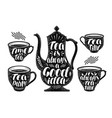tea label set brewing teapot cup hot drink icon vector image