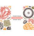 thanksgiving dinner menu design in color vector image vector image