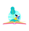 tree growing in open book for education concept vector image