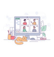 video conference home office online call chat vector image vector image