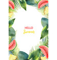 watercolor card tropical leaves and fruits vector image