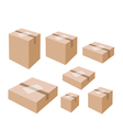 White Labels on Blank Brown Cardboard Boxes vector image vector image
