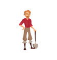 young farmer with shovel gardener at work cartoon vector image