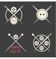 Set of sewing logotypes on dark grey background vector image