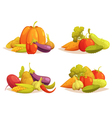 Vegetables Compositions 4 Icons Square Set vector image