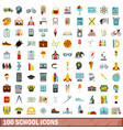 100 school icons set flat style vector image vector image