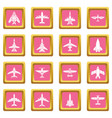 airplane top view icons set pink square vector image vector image
