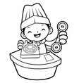 black and white cartoon chef mascot is a phone vector image
