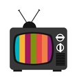 black old tv with colorful stripes graphic vector image