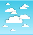 blue sky with white paper clouds summer cloudscape vector image
