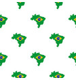 brazil flag on brazilian map pattern seamless vector image vector image