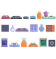 burning gas stove icons set cartoon style vector image vector image