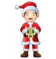 cartoon boy singing christmas carols isolated on w vector image vector image