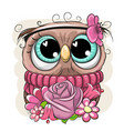 cartoon owl with flowerson a white background vector image