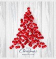 christmas holly berry on white wooden vector image vector image
