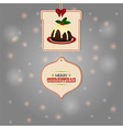 Christmas tags and pudding background vector image vector image