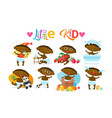 cute african american baby boy set toddler happy vector image vector image