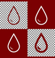 drop of water sign bordo and white icons vector image