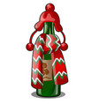 empty bottle green glass decorated with red vector image