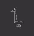 Fox in thin line animal logo black and white vector image vector image
