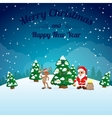 funny happy cartoon Christmas Reindeer with Santa vector image vector image