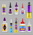 glue tubes adhesive stick and bottle plastic vector image