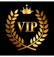 Gold Award Laurel Wreath with Crown and VIP Label vector image