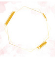 gold glitter hexagon frame on watercolor splash vector image vector image