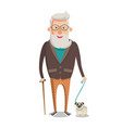 grandfather walking with dog isolated on white vector image