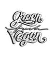 Green fresh vegan hand lettering Vintage poster vector image