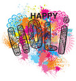 happy holi on the colorful background vector image vector image