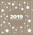 happy new year beige and white stars greeting card vector image vector image
