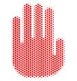 hexagon halftone stop hand icon vector image vector image
