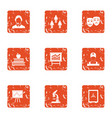 increase of the remittance icons set grunge style vector image vector image