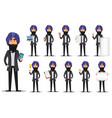 indian business man cartoon character set vector image vector image