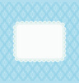 invitation card on blue damask background vector image