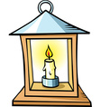lantern with a candle isolated on white background vector image