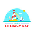 literacy day card concept for people education vector image vector image