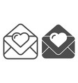 love letter line and glyph icon valentine card vector image
