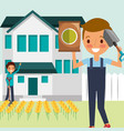 man and boy cartoon working in the house garden vector image