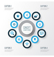 media colorful icons set collection of vector image vector image