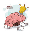 mental health human brain bulb idea innovation vector image