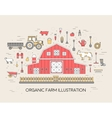 Organic farm in village set and tile in thin lines vector image